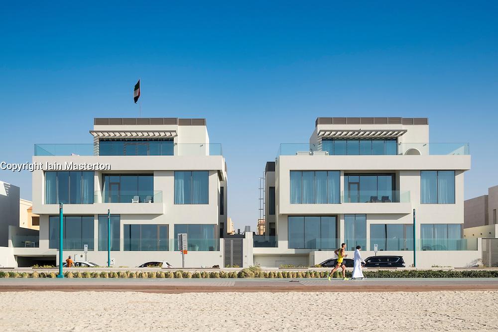 Luxury modern villas facing onto beach in Dubai United Arab Emirates