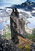 """The """"Svolvær Goat"""" rises to 1955 feet elevation on the Lofoten Islands, above the Arctic Circle, Norway. 1981 photo."""