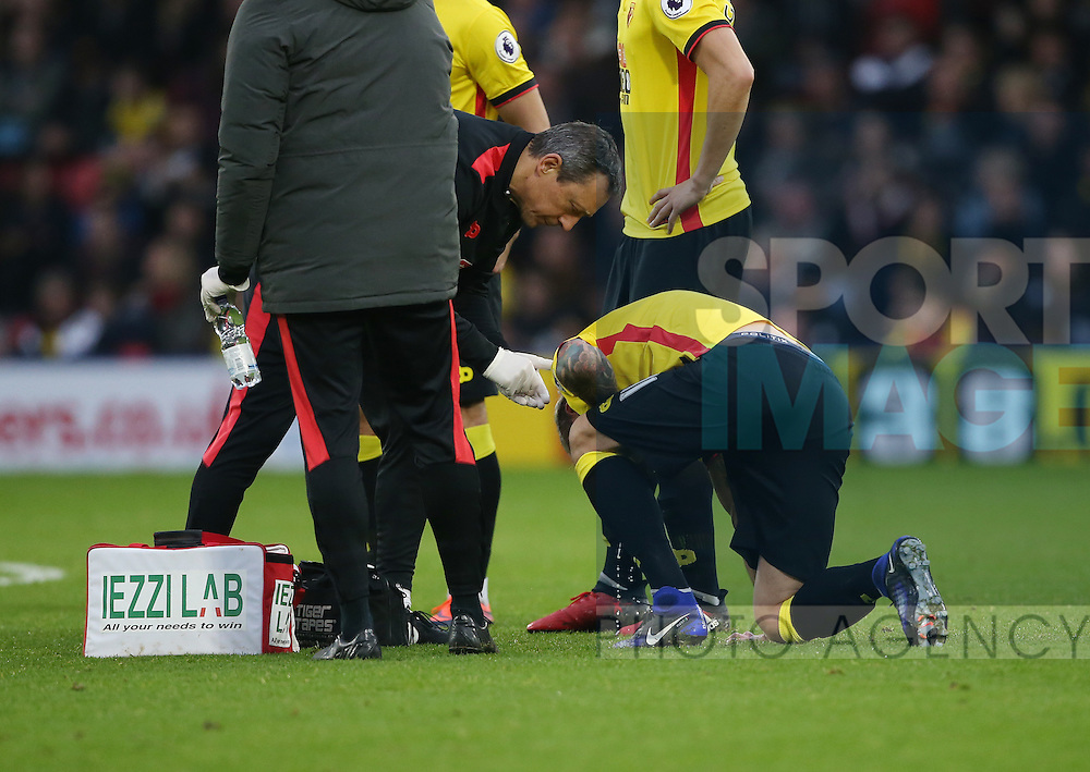 Watford's Valon Behrami throws up on the pitch at the start of the second half during the Premier League match at Vicarage Road Stadium, London. Picture date December 10th, 2016 Pic David Klein/Sportimage