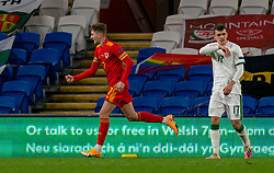 CARDIFF, WALES - Sunday, November 15, 2020: Wales' David Brooks celebrates after scoring the only goal of the game during the UEFA Nations League Group Stage League B Group 4 match between Wales and Republic of Ireland at the Cardiff City Stadium. Wales won 1-0. (Pic by David Rawcliffe/Propaganda)