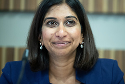 """© Licensed to London News Pictures . 01/10/2018. Birmingham, UK. Suella Braverman MP Parliamentary Under Secretary of State for the Department for Exiting the EU . Prospect magazine fringe event titled """" Beyond tariffs where are our opportunities to boost trade post-Brexit """" , supported by Associated British Ports . Day 2 of the Conservative Party conference at the ICC in Birmingham . Photo credit: Joel Goodman/LNP"""