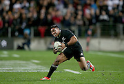 Malakai Fekitoa of the All Blacks on the burst during the third rugby test between the All Blacks and England played at Waikato Stadium in Hamilton during the Steinlager Series - All Blacks v England, Hamiton, 21 June 2014<br /> www.photosport.co.nz