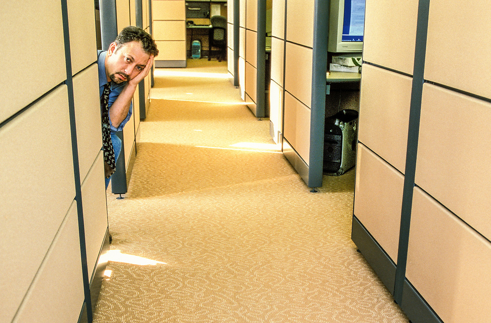#TBT #ThrowBackThursday #2000 Bored businessman in office cubicles.