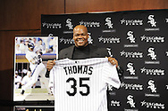 CHICAGO - FEBRUARY 12:  Former Chicago White Sox first baseman and designated hitter Frank Thomas #35 holds up his soon to be retired uniform number during a press conference to announce his retirement from Major League baseball on February 12, 2010 at U.S. Cellular Field in Chicago, Illinois.  Thomas played 16 years for the White Sox, from 1990 to 2005.  (Photo by Ron Vesely)