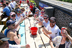 © Licensed to London News Pictures. 13/06/2021. London, UK. Fans gather at Skylight Rooftop, Tobacco Dock in London on a very hot afternoon, to watch the England v Croatia game. Photo credit: Dinendra Haria/LNP