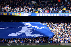 A general view of fans in the stands as they hold up banners for Chelsea's Eden Hazard and former Chelsea Captain John Terry