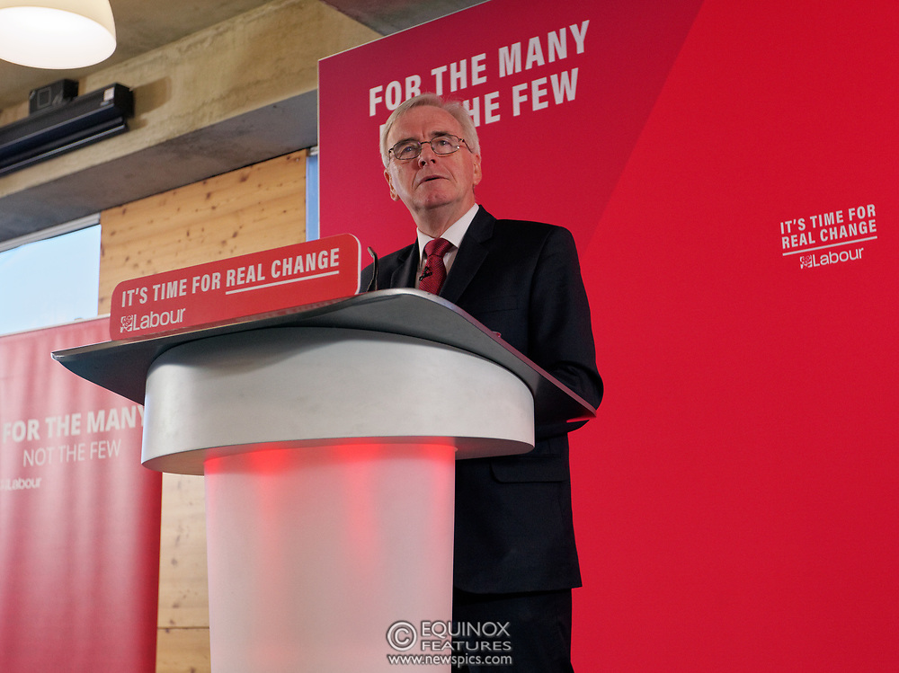 London, United Kingdom - 9 December 2019<br /> John McDonnell gives an economics speech in the run up to the general election 2019, on behalf of the Labour Party at Coin Street Community Builders, London, England, UK.<br /> (photo by: EQUINOXFEATURES.COM)<br /> Picture Data:<br /> Photographer: Equinox Features<br /> Copyright: ©2019 Equinox Licensing Ltd. +443700 780000<br /> Contact: Equinox Features<br /> Date Taken: 20191209<br /> Time Taken: 11222015<br /> www.newspics.com