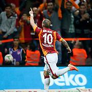 Galatasaray's Wesley Sneijder celebrate his goal during their Turkish superleague soccer derby match Galatasaray between Fenerbahce at the AliSamiYen spor kompleksi TT Arena in Istanbul Turkey on Saturday, 18 october 2014. Photo by Aykut AKICI/TURKPIX