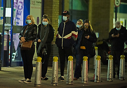 © Licensed to London News Pictures. 02/11/2020.  <br /> Crayford, UK. Night time queuing for toys. Due to the second lockdown announcement by Prime Minister Boris Johnson at the weekend the number of Christmas shopping days has been halved. Shoppers on a late night panic buying spree at a Smyths toys superstore in Kent. Photo credit:Grant Falvey/LNP