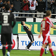 Besiktas's Roberto HILBERT celebrate his goal during their Turkish superleague soccer match Besiktas between Sivasspor at BJK Inonu Stadium in Istanbul Turkey on Sunday, 30 October 2011. Photo by TURKPIX