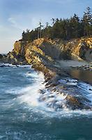 Surf pounding against sandstone cliffs of Shore Acres State Park on the Oregon Coast