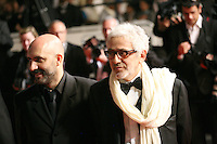 Pablo Trapero and Elia Suleiman  at the Holy Motors gala screening, red carpet at the 65th Cannes Film Festival France. Wednesday 23rd May 2012 in Cannes Film Festival, France.