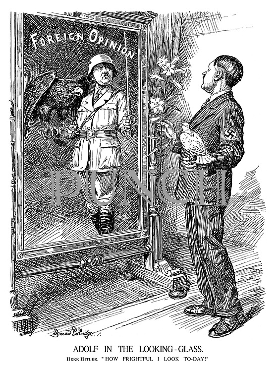 """Adolf in the Looking Glass. Herr Hitler. """"How frightful I look to-day!"""""""