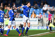 Chesterfield defender Sid Nelson (35) celebrates scoring his side's equalising goal to make the score 1-0 during the EFL Sky Bet League 2 match between Chesterfield and Notts County at the b2net stadium, Chesterfield, England on 25 March 2018. Picture by Jon Hobley.
