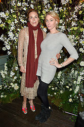Left to right, MARY ALICE MALONE and BEATRICE SANTELL at The Ivy Kensington Brasserie International Women's Day & Terrace Launch Party held at The Ivy Kensington Brasserie, 96 Kensington High Street, London on 8th March 2016.
