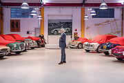 Milano , il collezionista di auto d'epoca Corrado Lopresto. da sn Flaxia 2000 prototipo Zagato, Aurelia Vignale coupè, Lancia Aprilia touring, Lancia Augusta stabilimenti Farina, in fondo a sn Bianchi s5 modello Garda e Monza; a dx da l fondo Alfa Romeo Giulietta spider prototipo di Bertone, Alfa Romeo Giulia T super, Alfa Romeo Sprint Speciale di Bertone, Alfa Romeo SS prototipo 1957