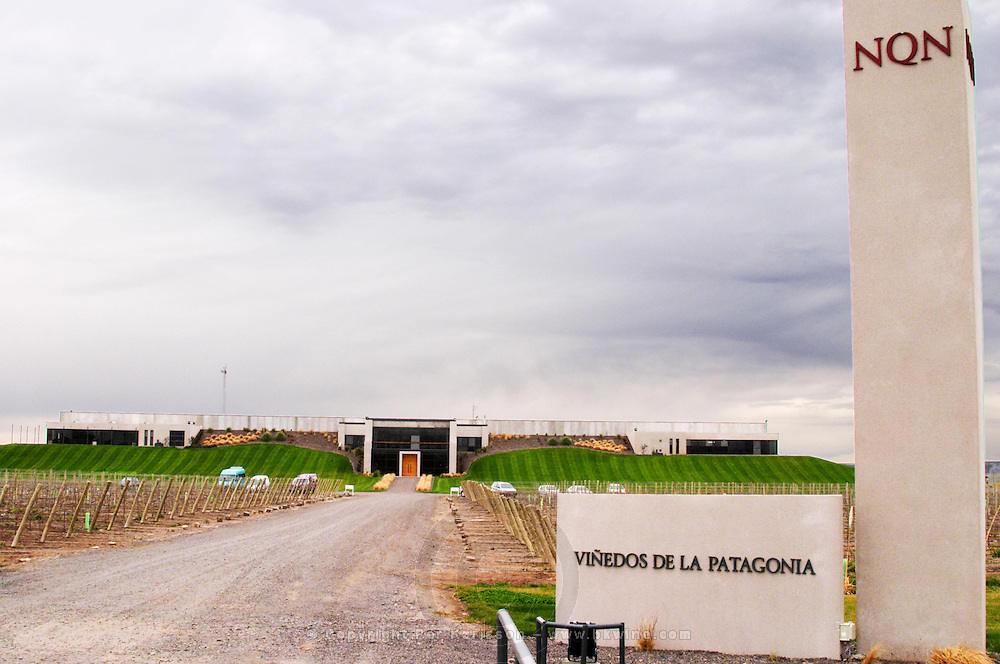 The entrance to the winery Bodega NQN Winery, Vinedos de la Patagonia, Neuquen, Patagonia, Argentina, South America