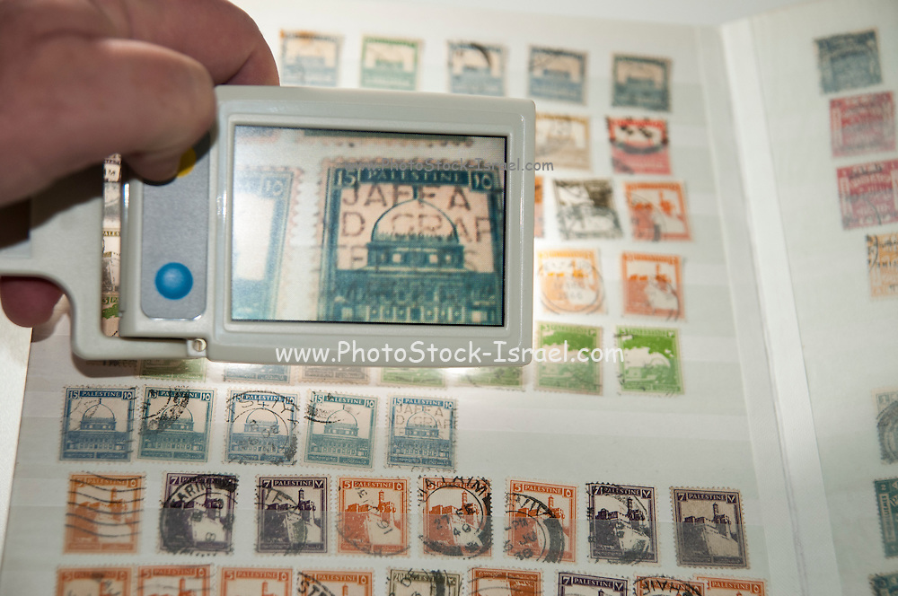 A vision impaired stamp collector uses a handheld electronic magnifier to inspect a 1947 stamp in his Palestine British mandate stamp collection