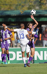 22042018 (Durban) Sundwns player Tiyani Mabunda with Andre Fileccia fighting for a ball during Maritzburg United FC make their way to the final of the Nedbank when playing against Mamelodi Sundowns FC at the Harry Gwala Stadium in Pietermaritzburg, KZN yesterday.Picture: Motshwari Mofokeng/ANA