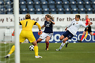 Erin Cuthbert (#22) of Scotland shoots and scores Scotland's first goal (1-1) during the FIFA Women's World Cup UEFA Qualifier match between Scotland Women and Belarus Women at Falkirk Stadium, Falkirk, Scotland on 7 June 2018. Picture by Craig Doyle.