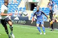 Cardiff city's Joe Ralls plays an attacking ball. Skybet football league championship match, Cardiff city v Fulham at the Cardiff city stadium in Cardiff, South Wales on Saturday 8th August  2015.<br /> pic by Carl Robertson, Andrew Orchard sports photography.