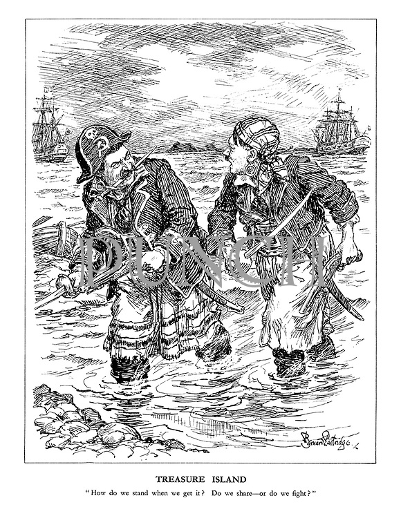 """Treasure Island. """"How do we stand when we get it? Do we share - or do we fight?"""" (Hitler and Stalin as pirates ready to plunder a new territory)"""