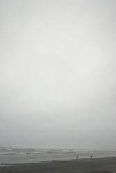 Intrepid Souls Brave the Rain at Kalaloch Beach, Kalaloch, Olympic National Park, Washington, US