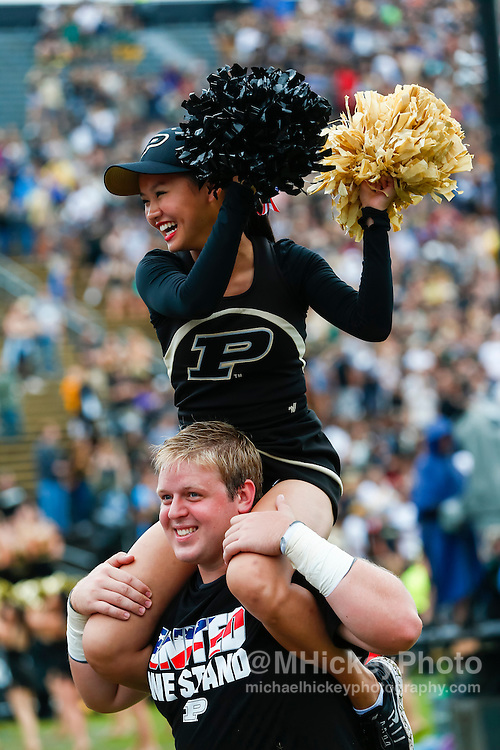 WEST LAFAYETTE, IN - SEPTEMBER 10: A Purdue Boilermakers cheerleader is seen during the game against the Cincinnati Bearcats at Ross-Ade Stadium on September 10, 2016 in West Lafayette, Indiana.  (Photo by Michael Hickey/Getty Images)