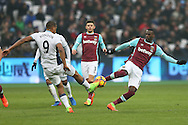 Jose Salomon Rondon of West Bromwich Albion and Pedro Mba Obiang of West Ham United compete for the ball. Premier league match, West Ham Utd v West Bromwich Albion at the London Stadium, Queen Elizabeth Olympic Park in London on Saturday 11th February 2017.<br /> pic by John Patrick Fletcher, Andrew Orchard sports photography.