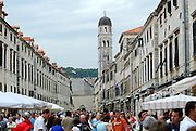 Compressed view of main street of Dubrovnik old town, street crowded with tourists. Dubrovnik, Croatia