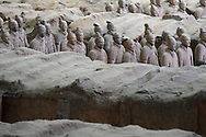 """Part of the """"Terracotta Army"""" , showing how they were burried and found in Xian, Shaanxi, China"""
