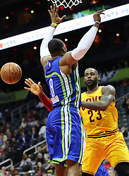 March 3, 2017 - Atlanta, GA, USA - Hawks center Dwight Howard forces Cavaliers forward LeBron James to pass off under the basket during the first quarter in a NBA basketball game at Philips Arena on Friday, March 3, 2017, in Atlanta, GA. (Credit Image: © Curtis Compton/TNS via ZUMA Wire)