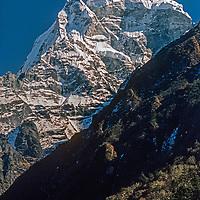 Mount Kangtega  towers above the Khumbu region of Nepal.