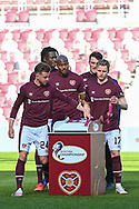 The Hearts players collect their winners medals after the final whistle of the SPFL Championship match between Heart of Midlothian and Inverness CT at Tynecastle Park, Edinburgh Scotland on 24 April 2021.