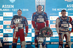 13.03.2016, Assen, BEL, FIM Eisspeedway Gladiators, Assen, im Bild Siegerehrung Sieger Dmitry Khomitsevich (RUS), zweiter 106 Dmitry Koltakov (RUS), dritter 333 Daniil Ivanov (RUS) // during the Astana Expo FIM Ice Speedway Gladiators World Championship in Assen, Belgium on 2016/03/13. EXPA Pictures © 2016, PhotoCredit: EXPA/ Eibner-Pressefoto/ Stiefel<br /> <br /> *****ATTENTION - OUT of GER*****