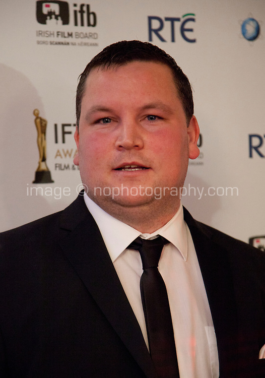 John Connors, awarded Best Actor winner for Cardboard Gangsters, at the IFTA Film & Drama Awards (The Irish Film & Television Academy) at the Mansion House in Dublin, Ireland, Thursday 15th February 2018. Photographer: Doreen Kennedy