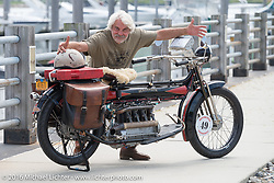 Frank Westfall of New York with his 4-cylinder 1912 Henderson class-2 bike before the start of the Motorcycle Cannonball Race of the Century Run. Atlantic City, NJ, USA. September 9, 2016. Photography ©2016 Michael Lichter.