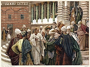 The Tribute Money. Jesus telling his questioners to render up to Caesar what was Caesar's. From JJ Tissot 'The Life of Our Saviour Jesus Christ' c1890. Oleograph