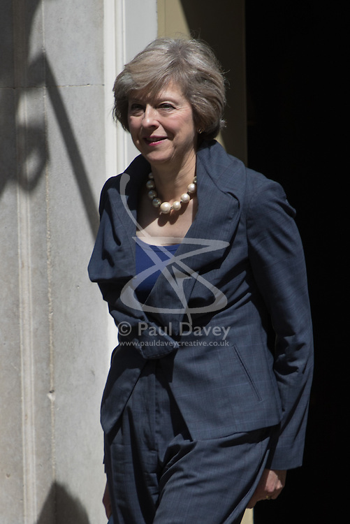Home Secretary Theresa May leaves Prime Minister David Cameron's final cabinet meeting as she takes over as Leader of the Conservative Party and Prime Minister on Wednesday 13th July 2016.