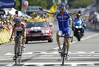 Sykkel<br /> Tour de France 2006<br /> Foto: Dppi/Digitalsport<br /> NORWAY ONLY<br /> <br /> CYCLING - UCI PRO TOUR - TOUR DE FRANCE 2006 - 21/07/2006 <br />                           <br /> STAGE 18 - MORZINE > M†CON - MATTEO TOSATTO (ITA) / QUICKSTEP / WINNER - CRISTIAN MORENI (ITA) / COFIDIS / 2ND