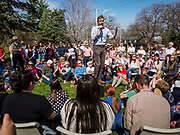 """06 APRIL 2019 - DES MOINES, IOWA: BETO O'ROURKE talks to supporters at a """"House Party"""" campaign event in Des Moines. O'Rourke held a series of """"house parties"""" in Des Moines Saturday as a part of his 2020 campaign to be the Democratic nominee for the US Presidential election. He is crisscrossing Iowa through the weekend with stops throughout the state. Iowa holds its caucuses, considered the kickoff of the US Presidential campaign, on Feb. 3, 2020.    PHOTO BY JACK KURTZ"""