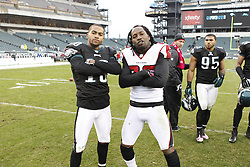 Philadelphia Eagles wide receiver DeSean Jackson (10) and Atlanta Falcons cornerback Asante Samuel (22) pose for a picture after the NFL game between the Atlanta Falcons and the Philadelphia Eagles on Sunday, October 28th 2012 in Philadelphia. The Falcons won 30-17. (Photo by Brian Garfinkel)