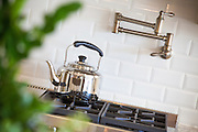 Stainless Steel Gas Range Cooktop Stock Photo