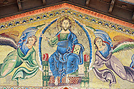 Close up of the 13th century Byzantine Mosaic panel depicting Christ Pantocrator with angels on the Basilica of San Frediano, a Romanesque church, Lucca, Tunscany, Italy .<br /> <br /> Visit our BYZANTINE MOSAIC PHOTO COLLECTION for more   photos  to download or buy as prints https://funkystock.photoshelter.com/gallery/Byzantine-Eastern-Roman-Style-Mosaics-Pictures-Images/G0000NvKCna.AoH4/3/C0000YpKXiAHnG2k<br /> If you prefer to buy from our ALAMY PHOTO LIBRARY  Collection visit : https://www.alamy.com/portfolio/paul-williams-funkystock/lucca.html