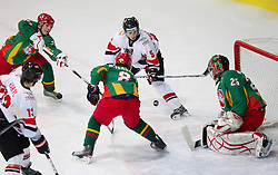 Marius Gohringer of Austria vs Nerijus Alisauskas and goalkeeper of Lithuania Mantas Armalis  during the ice hockey match between National teams of Lithuania (LTU) and Austria (AUT) at 2011 IIHF World U20 Championship Division I - Group B, on December 12, 2010 in Ice skating Arena, Bled, Slovenia.  (Photo By Vid Ponikvar / Sportida.com)