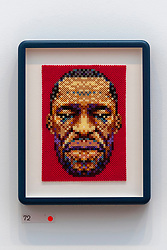 © Licensed to London News Pictures. 15/09/2021. London, UK. Art work of GEORGE FLOYD REMEMBERED made from Hama Beads by artist Ian Wright is showing as part of the Royal Academy 253rd Summer Exhibition 2021. Photo credit: Ray Tang/LNP