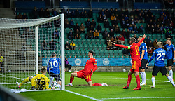 TALLINN, ESTONIA - Monday, October 11, 2021: Wales' Kieffer Moore scores the only goal of the game during the FIFA World Cup Qatar 2022 Qualifying Group E match between Estonia and Wales at the A. Le Coq Arena. Wales won 1-0. (Pic by David Rawcliffe/Propaganda)
