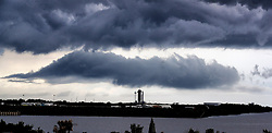 A line of severe thunderstorms that spawned a tornado warning moves across SpaceX Launch Complex 39-A with the SpaceX Falcon 9 rocket carrying the Crew Dragon capsule, at Kennedy Space Center, FL, USA, Wednesday, May 27, 2020. Photo by Joe Burbank/Orlando Sentinel/TNS/ABACAPRESS.COM