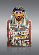 Ancient Egyptian cartonnage mummy mask with mummification scene, Pyolemaic Period, (332-30BC),  Egyptian Museum, Turin. Cat 2250. Grey background .<br /> <br /> If you prefer to buy from our ALAMY PHOTO LIBRARY  Collection visit : https://www.alamy.com/portfolio/paul-williams-funkystock/ancient-egyptian-art-artefacts.html  . Type -   Turin   - into the LOWER SEARCH WITHIN GALLERY box. Refine search by adding background colour, subject etc<br /> <br /> Visit our ANCIENT WORLD PHOTO COLLECTIONS for more photos to download or buy as wall art prints https://funkystock.photoshelter.com/gallery-collection/Ancient-World-Art-Antiquities-Historic-Sites-Pictures-Images-of/C00006u26yqSkDOM