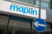Sign for the closed down former electronics brand Maplin in Birmingham, United Kingdom.